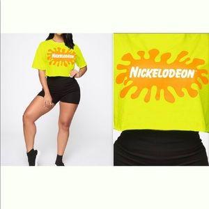 "NWOT ""Nickelodeon""💛 Neon Yellow splat cropped top"